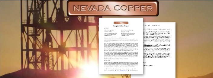 Nevada Copper Writes a Letter to Congress and Senate