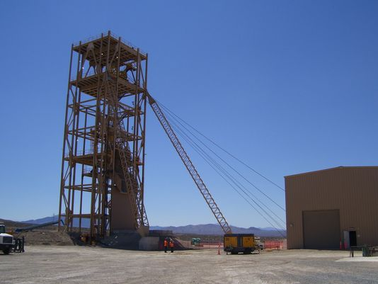 The Nevada Copper Pumpkin Hollow mine hoist is shown earlier this year. Nevada Copper officials have said passage of the Lyon Economic Development and Conservation legislation would accelerate the mine's permitting and development, mainly at its proposed Stage 2 open pit mine, by two or three years, with Nevada permits obtained possibly in 2015. (Photo: Submitted photo )